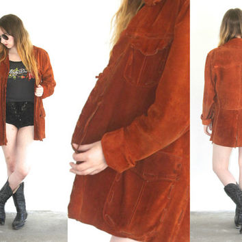 Vintage SUEDE Fringe Handmade Woven Rusty Brown Jacket // Hippie Gypsy Boho // Small / Medium