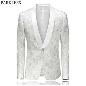 Men's Hipster Rose Floral Suit Jacket 2018 Brand New Slim Fit Single Breasted One Button Tuxedo Blazer Jacket Stage Costumes 4XL