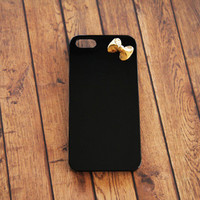 Unique iPhone 5 5s Case HTC One Black Case Sony Xperia Black Case iPhone 5c Black Cover Ribbon iPhone Cases Bow Gold Plated iPhone 4 4s Cute