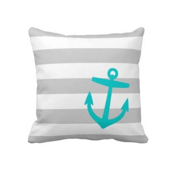 Gray & Aqua Nautical Stripes and Cute Anchor Pillows
