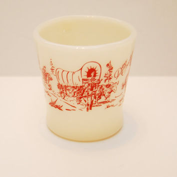 "Vintage Midcentury Davy Crocket Milk Glass Mug Fire King Western D Handled Mug Cup 1950's Retro ""King of the Wild Frontier"""