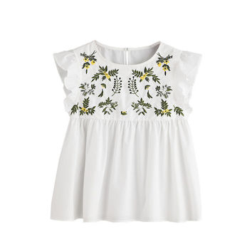 'Lisa' Embroidery Babydoll Blouse