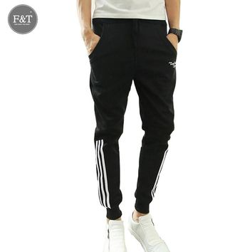 TOP HERE Men Sweatpants Striped Harem Pants Brand 2017 Joggers Slim Fit Skinny Men's Hip Hop Swag Clothes High Street Gray Black