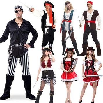 Jack Sparrow Pirate Costume Adult Cosplay Fancy Dress Carnival captain pirates caribbean Halloween Cosplay Costume For Women Men