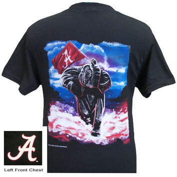 Alabama Crimson Roll Tide Bama Oil Flag Unisex Bright T-Shirt