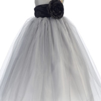 Silver Polysilk Flower Girl Dress w. Ballerina Tulle Skirt & Custom Sash 6M-12Y