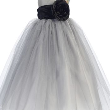 Silver Polysilk Flower Girl Dress w. Ballerina Tulle Skirt & Custom Sash 12m-12