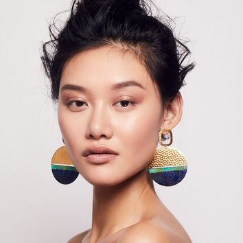 Free People Washed Patina Knocker Hoops