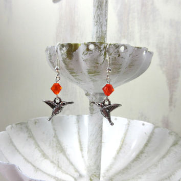 Hummingbird Earrings, Red Swarovski Elements Crystals, Silver Bird Earrings