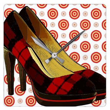 Red Checker High Heels Shoes polka dots art Square Wall Clock