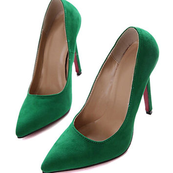 Green Pointed High Heeled Pumps