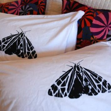 Moth Pillowcase Pair Standard Black on White