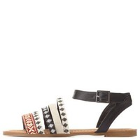 Bamboo Tribal Woven Strappy Flat Sandals by Charlotte Russe - Black