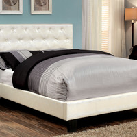 Ryfner Contemporary Crocodile Leatherette Queen Bed in White