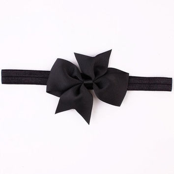 Fashion Headbands For Children Baby Solid Bow head band elastic Ribbon baby girls Hair Accessories infantis gift LY GS