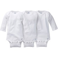 3-pack White Onesuits® Brand Long Sleeve Bodysuits