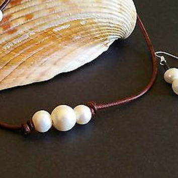 The Original Seasidepearls30A, 3 Freshwater Pearls on AAA Leather and earring gift set!