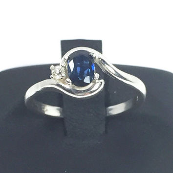 Blue Sapphire Diamond Unique Sterling Silver Engagement Ring