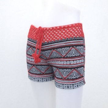 Sexy Summer Crochet Short black red color for Girls Cotton Fabric,  Please read carefully for our measurement size as items detail.
