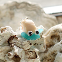 Omanyte Fossil Necklace, kawaii helix polymer clay charm