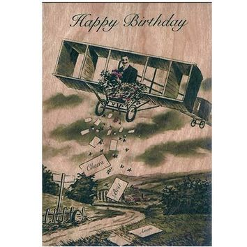 Wood Folding Card Airplane Birthday