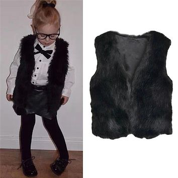 New Fashion Autumn Winter Girls Vest Coat Faux Fur Kids Clothing Ultra- comfortable Waistcoat Baby Girls Coat Black