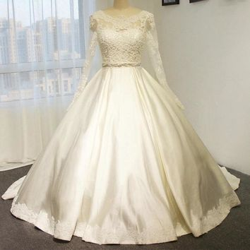 High quality satin wedding dress wedding gown with beading belt