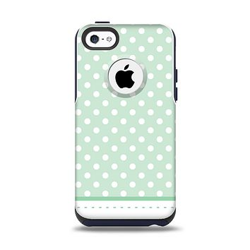 The Vintage Light Green Polka Dot With White Strip Apple iPhone 5c Otterbox Commuter Case Skin Set