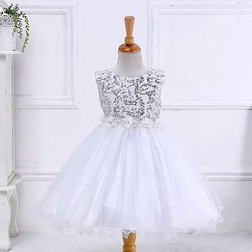 Retail Beautiful White Sequined Flower Girl Dresses Bow Back Ribbons Child Dress For Wedding Pageant Gown LYD005