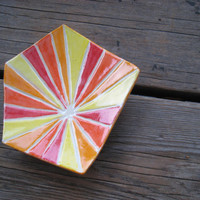 Handmade Jewelry Tray - Ceramics and Pottery - Pottery Dish - Red and Orange and Yellow - Ceramic Plate - Outdoor Decor