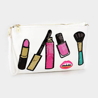 Sequin Cosmetic Patch White Zipper Clutch Bag with Detachable Strap 346646