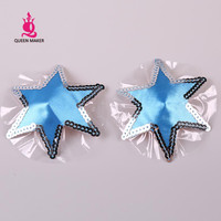 QueenMaker Blue six pointed star chest paste Halloween party Silver sequins decorative Nipple sticker pasties