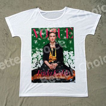 Track Ship+New Vintage Retro T-shirt Top Tee Vogue Green Artist Magdalena Carmen Frida Kahlo 0766