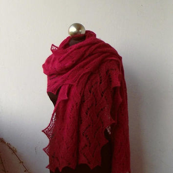 Red hand knitted lace shawl,knit scarf, alpaca and silk knitted shawl