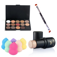 4 PCS Makeup Set EyeShadow Palette Highlighter Makeup Sponge Beauty Mult-Foundation Makeup Brushes Cosmetic Tools Kit Maquiagem
