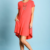 Umgee Short Sleeve A Line Dress