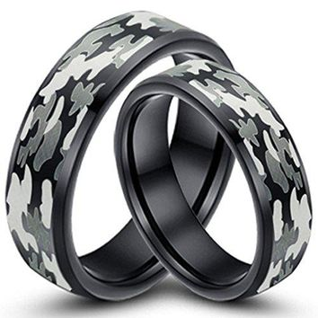 Black Camouflage Hunting Tungsten Carbide Couple Ring Camo Polished Beveled Edge Promise Band