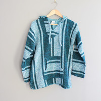 GRUNGE Baja Pullover Turquoise DRUG RUG Hippie Pixie Hooded Mexican Serape Hoodie Sweater Vintage Unisex size M #T173A