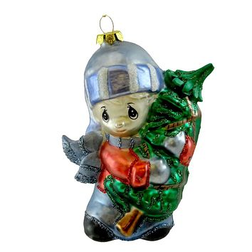 Precious Moments BOY WITH TREE ORNAMENT Blown Glass Christmas 712014
