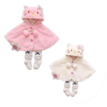 2017 New Brand Newborn Toddler Infant Baby Girls Thick Coat Hooded Cloak Poncho Jacket Outwear Lovely Coat Clothes