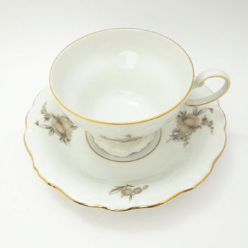 Johann Haviland Sepia Rose footed tea cup saucer with gold trim - Bavaria Germany gray pink rose teacup saucer set