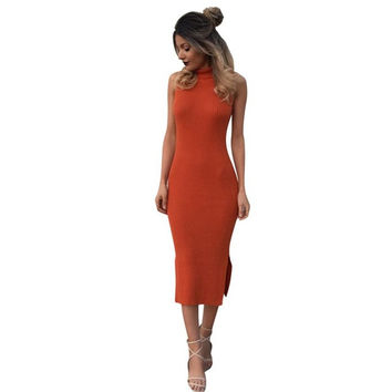 Fashion    Women Sweater Dresses Slim Turtleneck Sexy Bodycon Orange Robe Long Maxi Knitted Dress Ladies #1130 GS