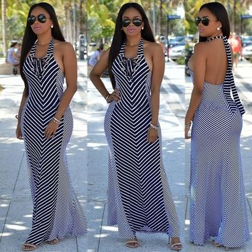 Striped Pattern Halter Backless Sleeveless Self tie Maxi Dress