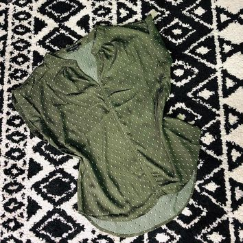 Parker Wool Dobby Print Top in Olive