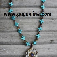 Long Turquoise and Crystal Flower Necklace