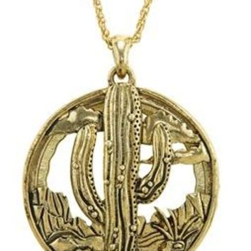 Cactus Magnifying Locket Necklace - Antique Gold Plated
