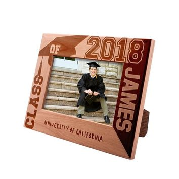 Personalized Engraved Graduation Picture Frame 4x6 - Class of 2019 - University Name - Gift For High School or College Graduate Gift