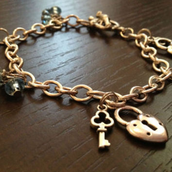 Beautiful Key Lock Bracelet with blue beads, silver plated