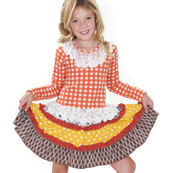 Jelly The Pug Orange & Yellow Fox Hill Lila Tiered Dress - Girls 5