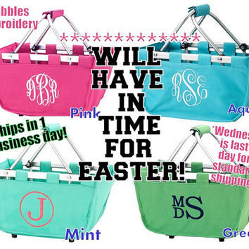 Monogrammed Easter Basket Personalized Mini Market Tote ships next day will have in time for easter